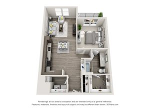 The Foxtrot 3D Floorplan with 1 Bedroom, 1Bath. Kitchen with L shaped Countertops open to Living Room Area.