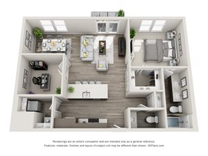 The Juliet 3D floorplan with 1 Bedroom, 1 Bath, 1 Powder Room, and Den. Kitchen with peninsula Island. Open to Living and Dining room areas.