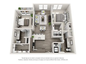 The Lima 3D Floorplan with 2 Bedrooms, 2 Baths one with standalone shower. Kitchen with Island peninsula open to dining and living area.