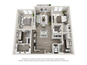The Oscar 3D floorplan with 2 Bedrooms, 2 Baths one with standalone shower. L shaped Kitchen open to dining and living area.