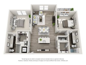 The Quebec 3D Floorplan with 2 Bedrooms, 2 Baths one with standalone shower. Kitchen with island open to Living area