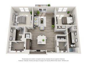 The Sierra 3D with 2 Bedrooms, 2 Baths one with standalone shower. Kitchen with island open to Living area