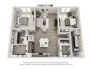 The Victor 3D floorplan with 2 bedrooms, 2 baths one with standalone shower. Kitchen with island open to Living area.