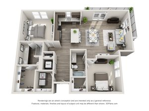 The Whiskey 3D floorplan with 2 bedrooms, 2 baths one with standalone shower. L shaped kitchen with island open to living area