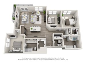 The Zulu 3D floorplan with 3 bedrooms, powder room, 2 baths one with standalone shower. Kitchen with Island open to dining and living area.