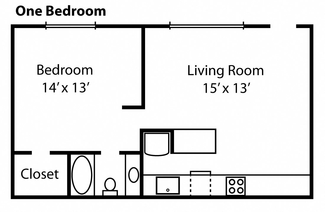 Standard One Bedroom Floor Plan at Anderson Place Apts, Davis, CA