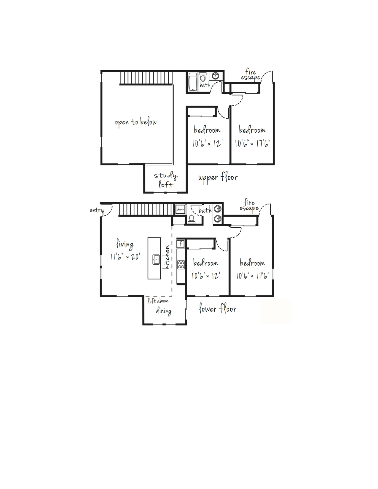 4x2 Townhouse Individual Lease Program Floor Plan 3