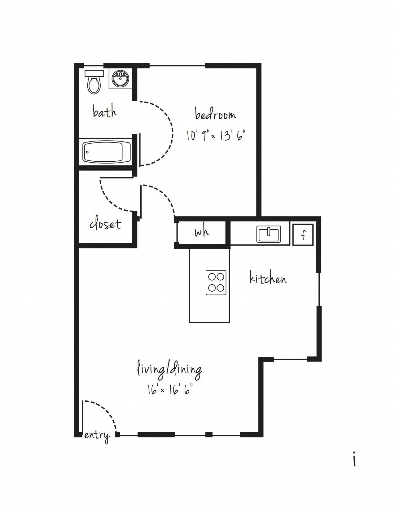 SOLD OUT 1x1 Cottage Updated Floor Plan 5