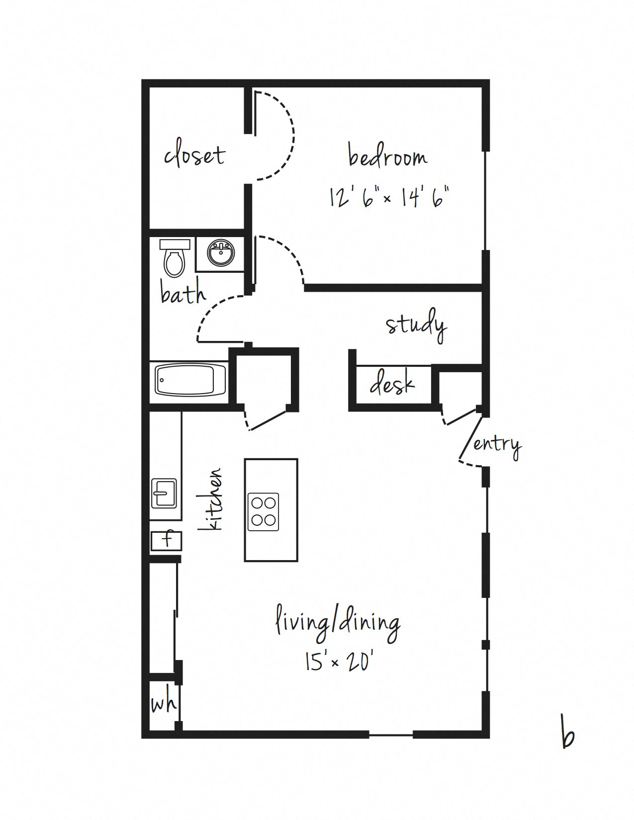 1x1 with Study Updated Floor Plan 5