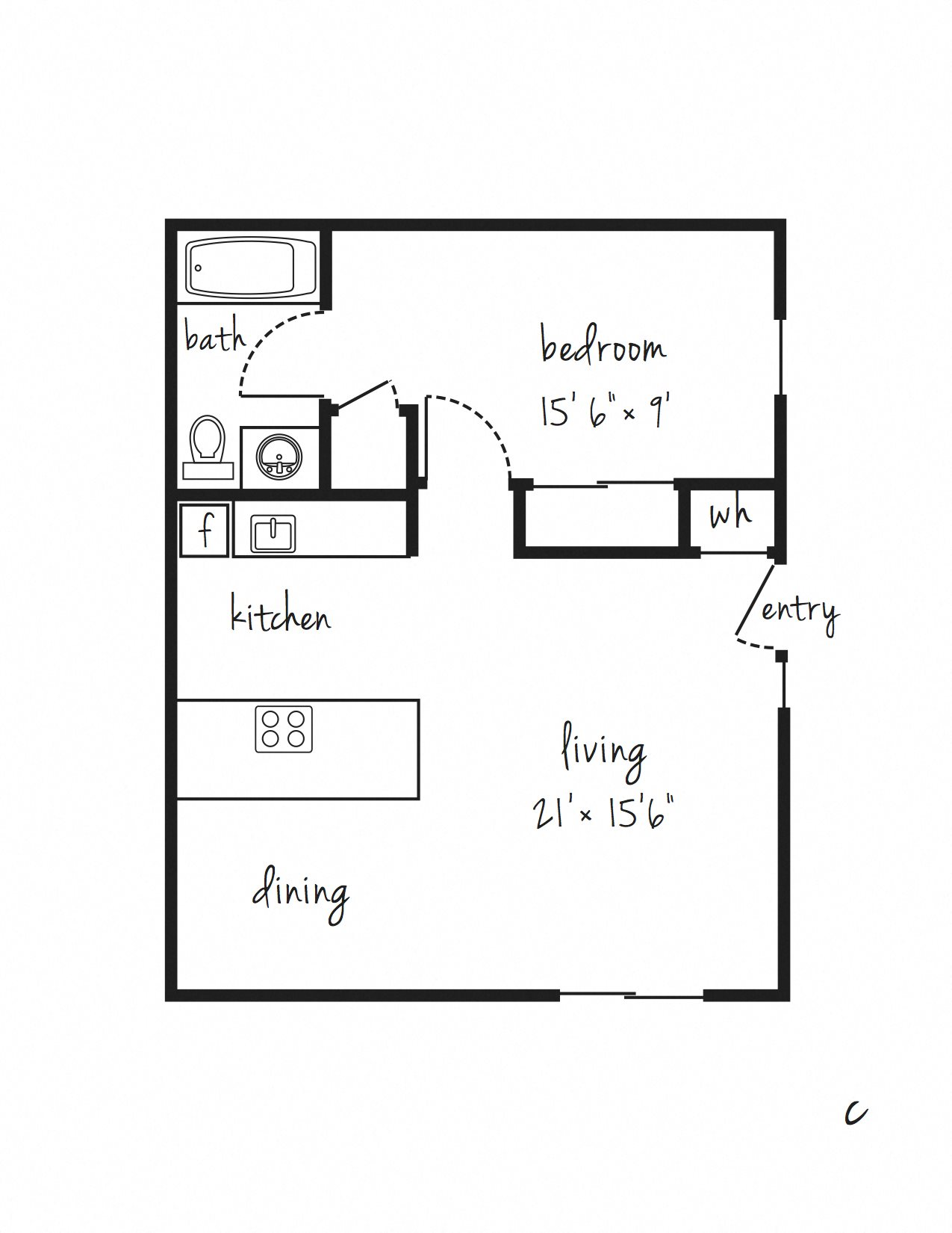 SOLD OUT 1x1 Flat Updated Floor Plan 9