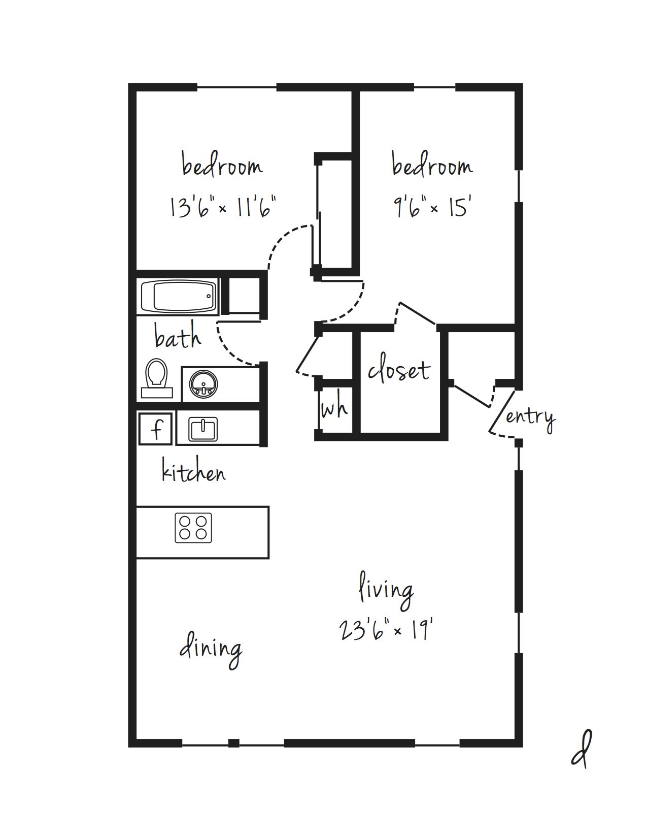 SOLD OUT 2x1 Updated Individual Lease Program Floor Plan 10
