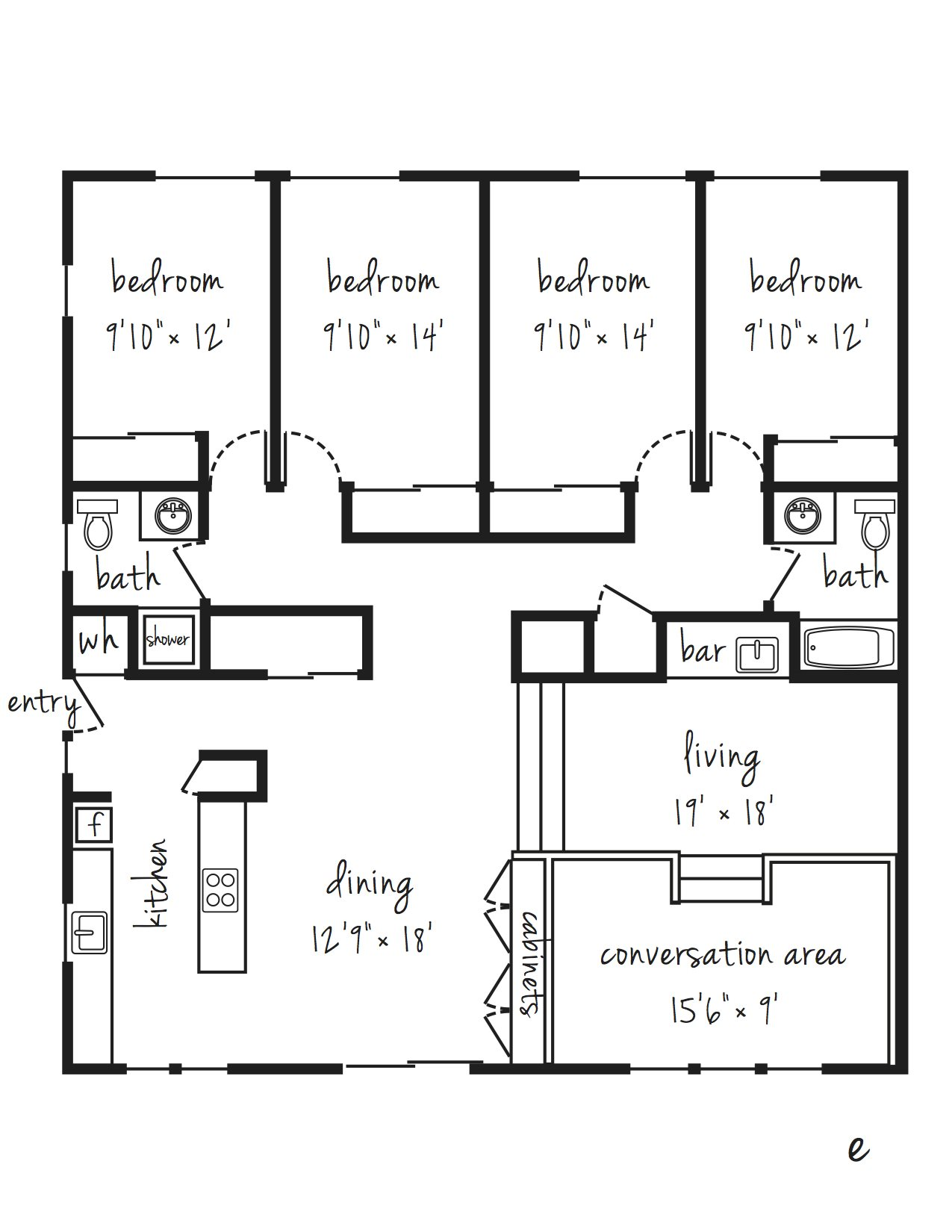 SOLD OUT 4x2 Flat Updated Individual Lease Program Floor Plan 14