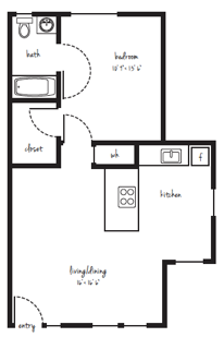 SOLD OUT 1x1 Standard Cottage Floor Plan 4