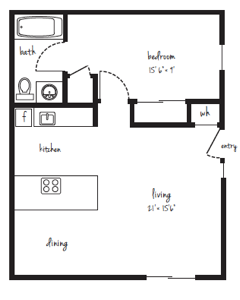 SOLD OUT 1x1 Flat Floor Plan 8