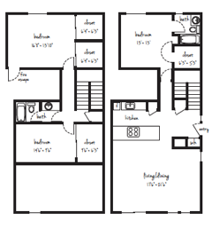 SOLD OUT 3x2 Townhouse Individual Lease Program Floor Plan 13