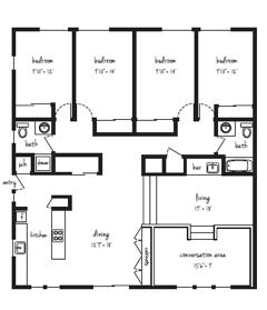 IMMEDIATE MOVE IN 4x2 Flat Standard Individual Lease Program Floor Plan 2