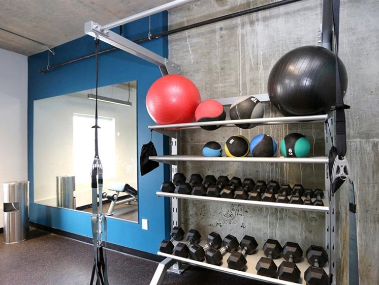 Free Weights In Gym at The George & The Leonard, Atlanta, GA, 30312