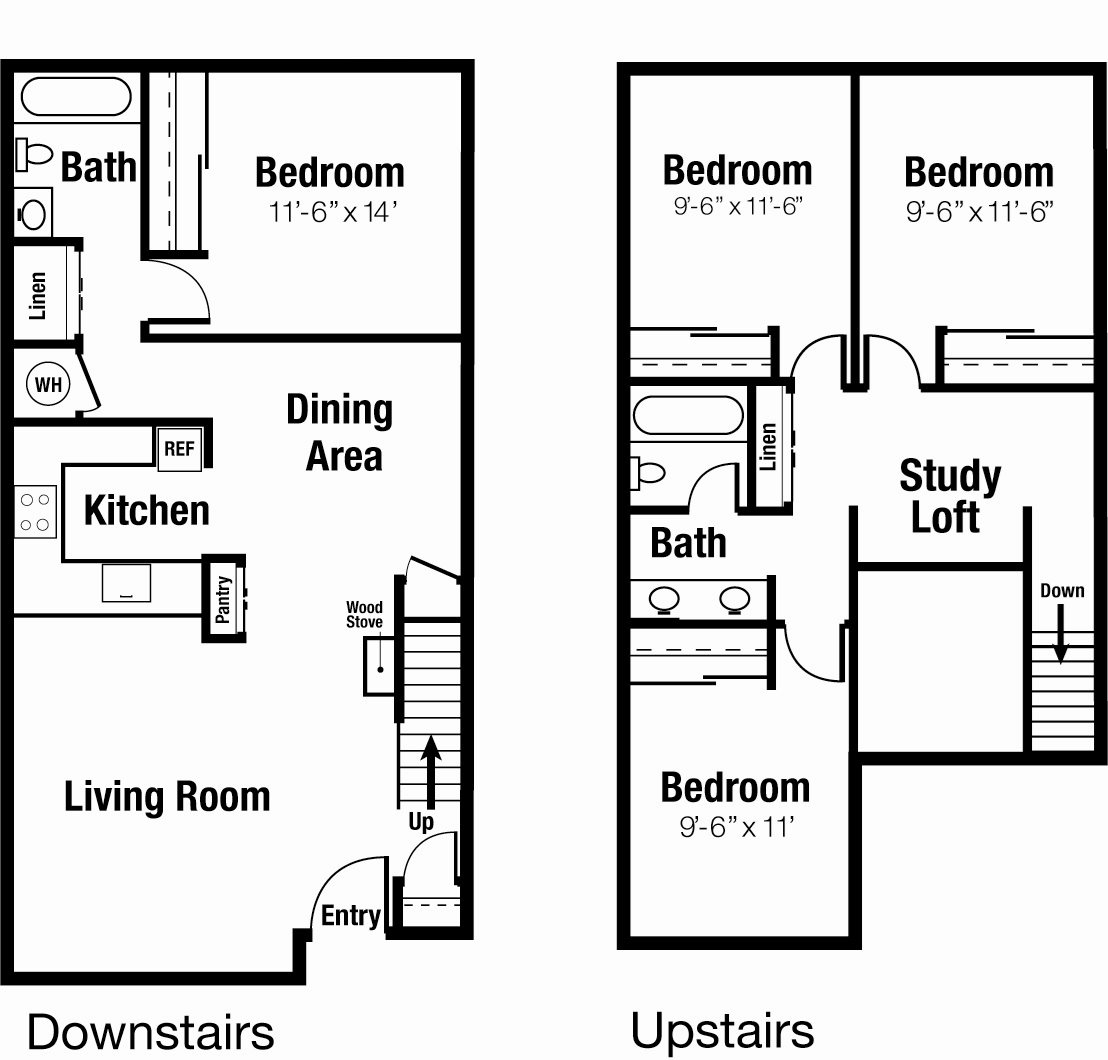SOLD OUT FOR FALL 2018 - 4x2 Townhouse Individual Lease Program Floor Plan 4