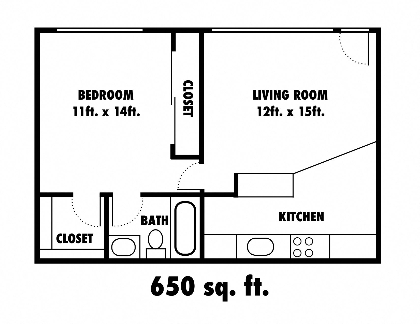 SOLD OUT - 1x1 West End Floor Plan 1