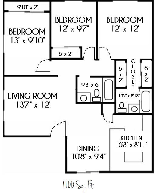 SOLD OUT--3 Bedroom 2 Bath Floor Plan 5