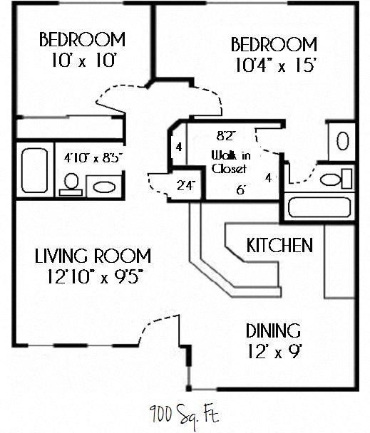 SOLD OUT --2 Bedroom 2 Bath Floor Plan 4