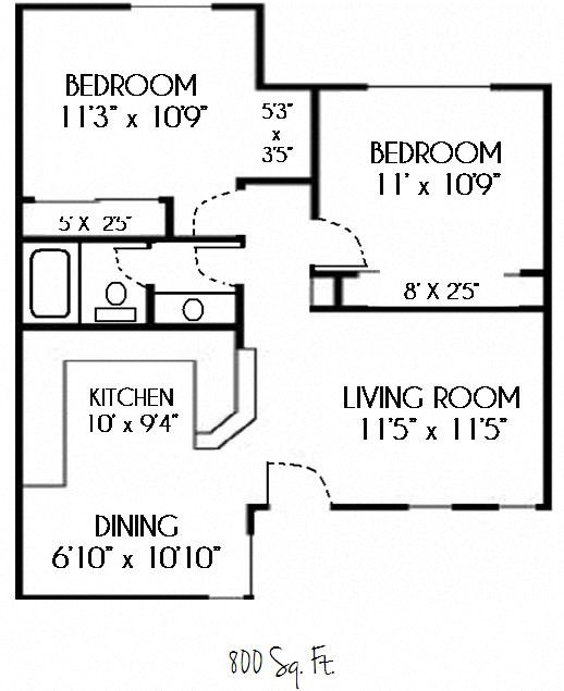 SOLD OUT--2 Bedroom 1 Bath Floor Plan 2