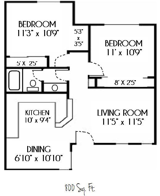 SOLD OUT--2 Bedroom 1 Bath Updated Floor Plan 3