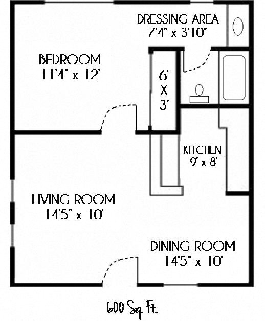 SOLD OUT--1 Bedroom 1 Bath Floor Plan 1