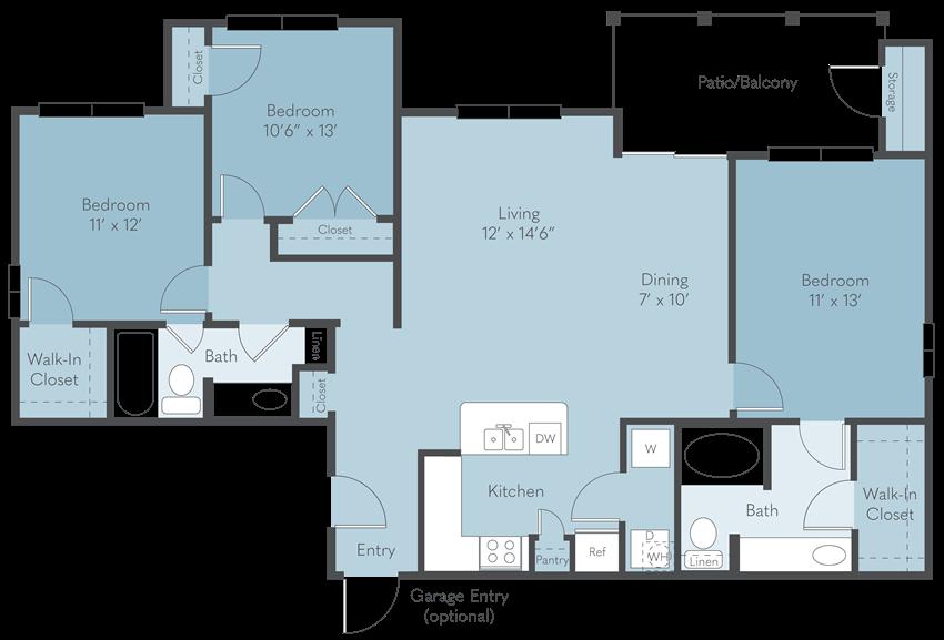 C3 | 1,350 SQ FT | 3 BED / 2 BATH