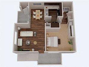 1 Bedroom 1 Bathroom 3D Floor Plan