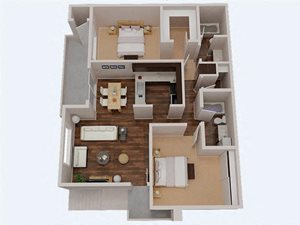 2 Bedroom 2 Bathroom 3D Floor Plan both bathrooms have tubs