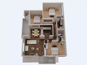 3 Bedroom 2 Bathroom 3D Floor Plan