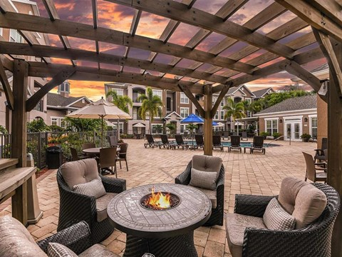 Fountain Villas Outdoor Lounge Dusk