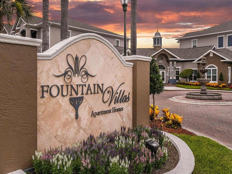 Fountain Villas Community Entrance Dusk