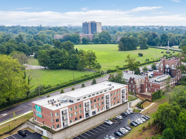 Gorgeous birds-eye view of apartments on Philadelphia's Main Line with scenic surroundings
