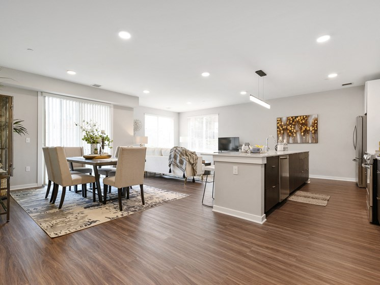 Spacious open layout in Wynnewood, PA luxury apartment for rent with vinyl hardwood flooring
