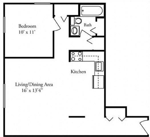 1 Bedroom- Azeeze Bates Floor Plan 1