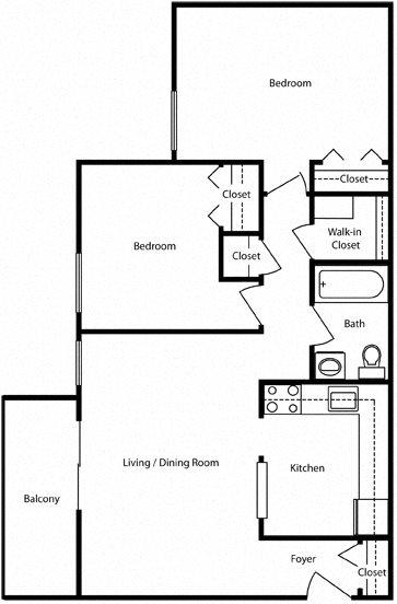 2 Bedroom - Balcony or Patio- Pentacle Floor Plan 2