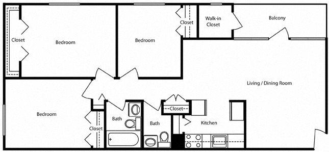 3 bedroom 1.5 bath- Pentacle Floor Plan 3