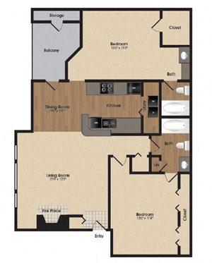Spacious dog wood floor plan at Park Laureate in Jeffersontown, Louisville, KY 40220