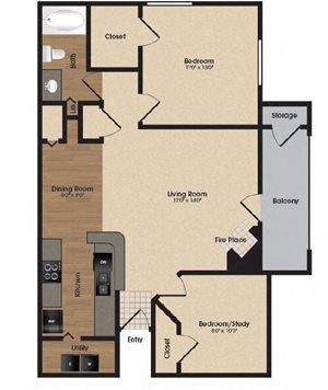 spacious oak floor plan at Park Laureate in Jeffersontown, Louisville, KY 40220