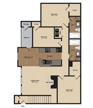 spacious maple floor plan at Park Laureate in Jeffersontown, Louisville, KY 40220