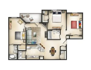 Floor plan at Brittany Commons Apartments, Spotsylvania, Virginia