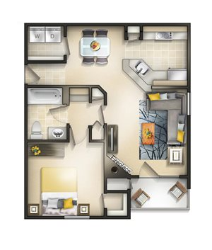 Floor plan at Brittany Commons Apartments, Virginia