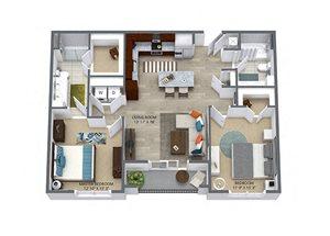 Westwood Green 2 bed 2 bath 1100 sqft