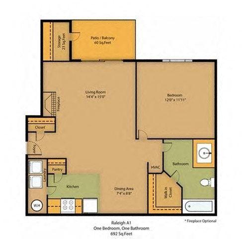 Raleigh | 1 Bedroom | 1 Bath | 692 SF