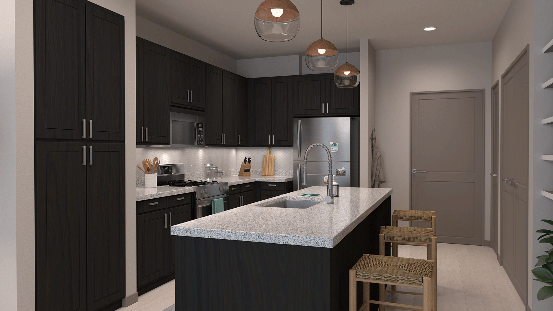 Fitted Kitchen With Island Dining at Centra Midtown Phoenix, Phoenix, AZ, 85012