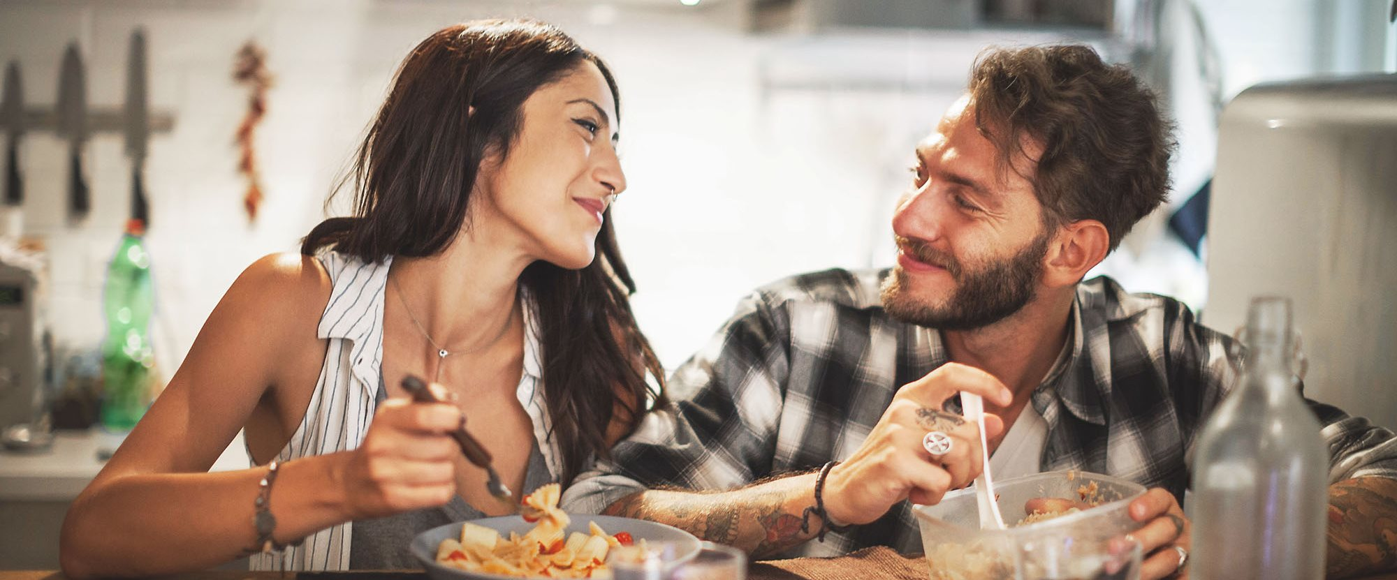 stock image- couple eating