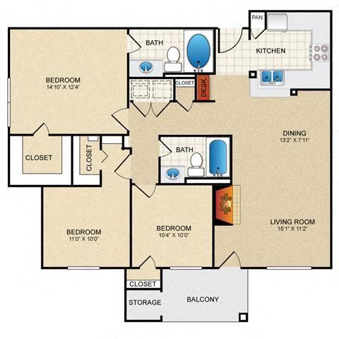 3 bedroom, 2 bathroom