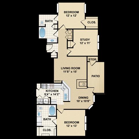2 bedroom, 2 bathroom, study